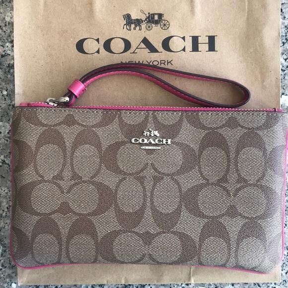 Coach Handbags - Large Wristlet in Khaki/Magenta